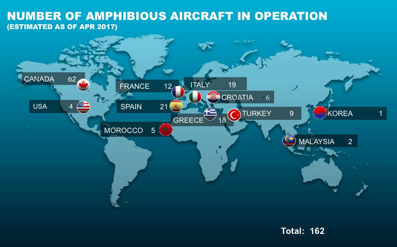 Map showing the number of amphibious aircraft in operation as of April 2017